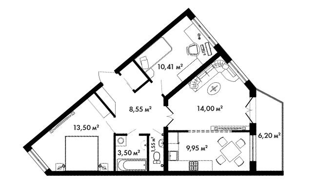Планировка Двухкомнатная квартира площадью 65.9 кв.м в ЖК «Азбука»