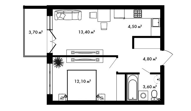 Планировка Однокомнатная квартира площадью 39.55 кв.м в ЖК «Азбука»