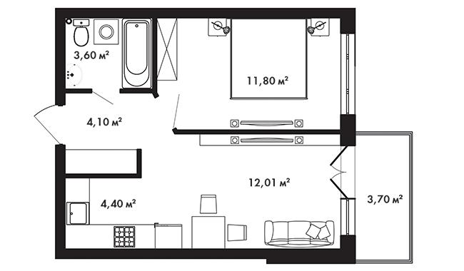 Планировка Однокомнатная квартира площадью 37.05 кв.м в ЖК «Азбука»