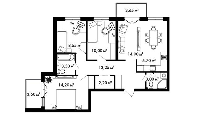 Планировка Трёхкомнатная квартира площадью  кв.м в ЖК «Азбука»
