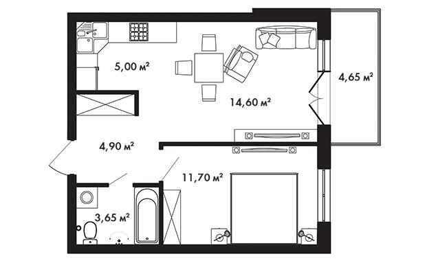 Планировка Однокомнатная квартира площадью 41.25 кв.м в ЖК «Азбука»
