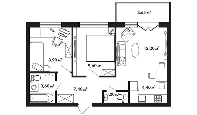 Планировка Двухкомнатная квартира площадью 48.7 кв.м в ЖК «Азбука»