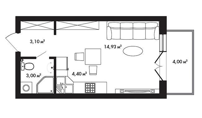 Планировка Студия площадью 26.6 кв.м в ЖК «Азбука»