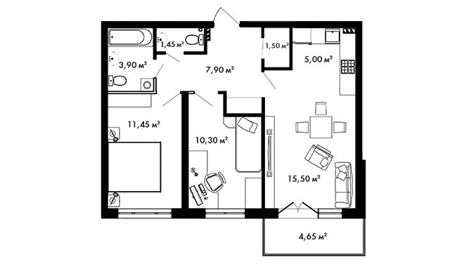 Планировка Двухкомнатная квартира площадью 58.4 кв.м в ЖК «Азбука»